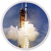Liftoff Of The Saturn Ib Launch Vehicle Round Beach Towel