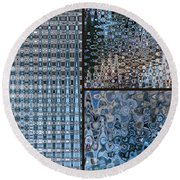 Light Blue And Brown Textural Abstract Round Beach Towel