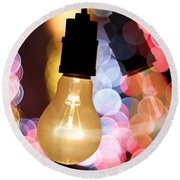 Light Bulb And Bokeh Round Beach Towel