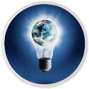 Light Bulb With Globe Round Beach Towel