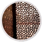 Light Coming Through The Stone Lattice At Humayun Tomb Round Beach Towel