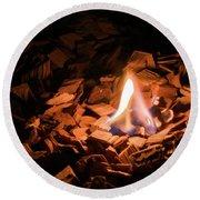 Light Of Fire Creates Coziness ... Round Beach Towel