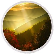 Light On The Moutain Round Beach Towel