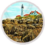 Light Over The Rocks Round Beach Towel