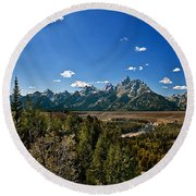 Light Rays On The Grand Tetons Round Beach Towel