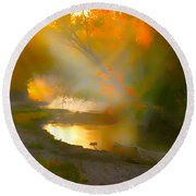 Light Up The Creek Round Beach Towel