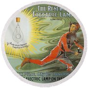 Lightbulb Ad, 1900 Round Beach Towel
