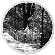 Lighted Bridge In Black And White Round Beach Towel