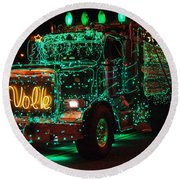 Lighted Green Dumptruck Round Beach Towel
