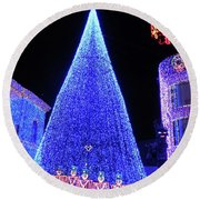 Lighted Xmas Tree Walt Disney World Round Beach Towel