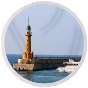 Lighthouse Along The Corniche Round Beach Towel