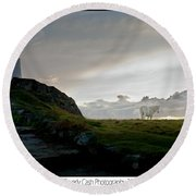 Lighthouse And Horse Round Beach Towel