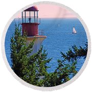 Lighthouse And Sailboats Round Beach Towel