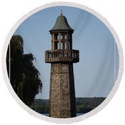Lighthouse At Lake Chautauqua Round Beach Towel