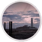 Lighthouse At Low Tide II Round Beach Towel