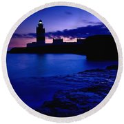 Lighthouse Beacon At Night Round Beach Towel