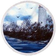 Lighthouse Blues Painterly Style Round Beach Towel