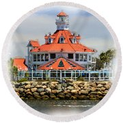 Lighthouse Charm Round Beach Towel