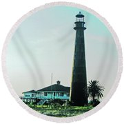Lighthouse Galveston Round Beach Towel