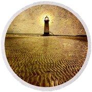 Lighthouse Grunge Round Beach Towel