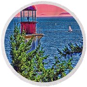 Lighthouse Hdr Round Beach Towel