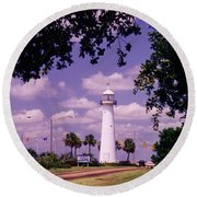 Lighthouse In Biloxi Mississippi Round Beach Towel