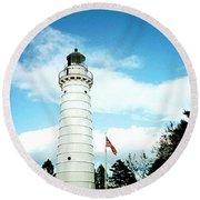 Lighthouse In Door County Round Beach Towel