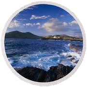 Lighthouse In The Distance, Fort Point Round Beach Towel