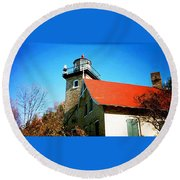 Lighthouse In The Fall Round Beach Towel