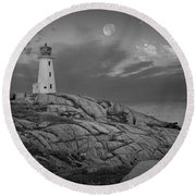Lighthouse In The Moonlight At Peggy's Cove Nova Scotia Canada Round Beach Towel