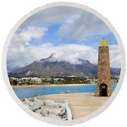Lighthouse On Costa Del Sol In Spain Round Beach Towel