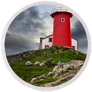 Lighthouse On Hill Round Beach Towel
