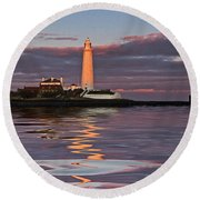 Lighthouse Reflection Round Beach Towel