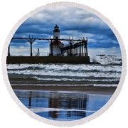 Lighthouse Reflections Round Beach Towel