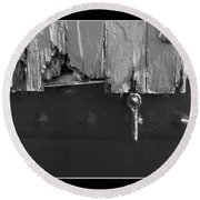 Lighthouse Shutter Black And White Round Beach Towel