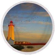 Lighthouse, Sylvan Lake, Alberta, Canada Round Beach Towel