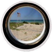 Lighthouse Window To Lake Round Beach Towel