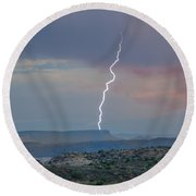 Lighting At The Arches Round Beach Towel