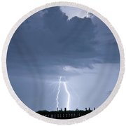 Lightning At The Pier Round Beach Towel