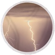 Lightning Bolt With A Fork Round Beach Towel