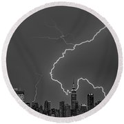 Lightning Bolts Over New York City Bw Round Beach Towel by Susan Candelario
