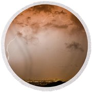 Lightning Dome Round Beach Towel