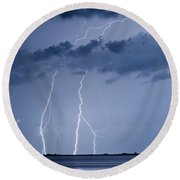 Lightning On The Water Round Beach Towel