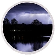 Lightning Over Coot Lake Round Beach Towel