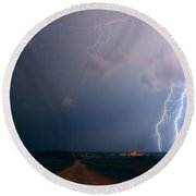 Lightning Over The Field Round Beach Towel