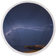 Lightning Over The Pier Round Beach Towel