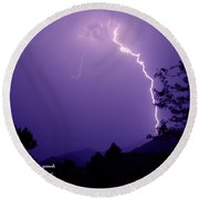 Lightning Over The Rogue Valley Round Beach Towel
