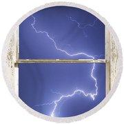 Lightning Strike White Barn Picture Window Frame Photo Art  Round Beach Towel