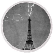 Lightning Strikes Eiffel Tower, 1902 Round Beach Towel