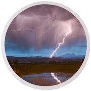 Lightning Striking Longs Peak Foothills 2 Round Beach Towel